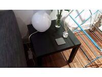 IKEA Black table & round lamp