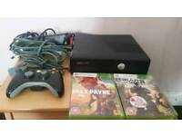 Xbox 360 s console, with one controller, 2 cd games, all wires