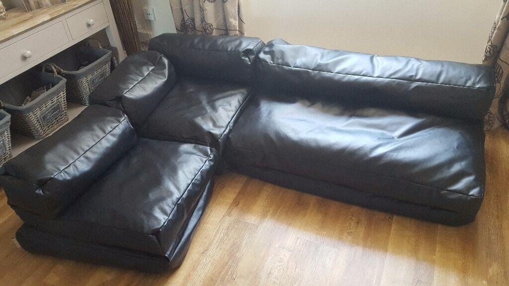Black Bean Bag Corner Sofa