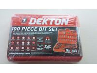 Dekton 100 Piece Bit Set + Comes with case BRAND NEW NEVER USED OR OPENED COMPLETELY SEALED