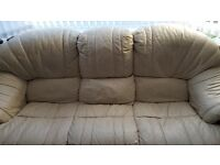 3 seater and 2 chairs cream