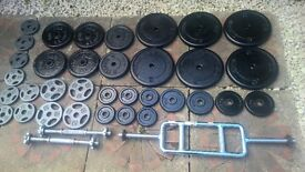 Standard cast iron weights 120 kg, solid ticep bar, dumbbells