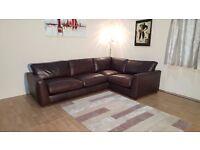 Ex-display Alexander and James Madison dark brown leather corner sofa