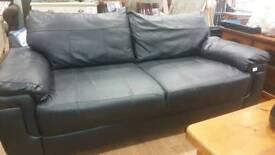 Black leather large 2 seat sofa