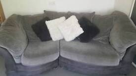 2 seater and single seater grey fabric sofas