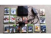 Xbox 360 slim and 15 games.