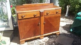 Art & Crafts Wood Sideboard with 2 drawers, 2 cupboards & original decorative handles