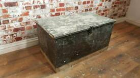 Vintage chest trunk ottoman wooden rustic storage box antique