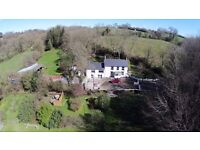Four bedroom farmhouse in two acres with wood fired hottub in Llangrannog West Wales