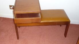 TELEPHONE SEAT WITH DRAWER AND WRITING TABLET.