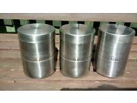 Silver Metal Tea, Coffee & Sugar Canister Tins