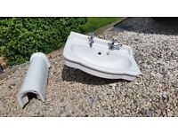 Sink and pedestal - used