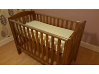 Mothercare Takeley wooden cot bed with mattress (60x120cm), drop-side mechanism