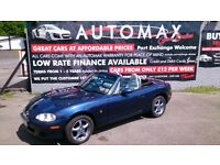 LOW MILEAGE 2003 MAZDA MX-5 CONVERTIBLE 1.8 MET BLUE ONLY 51K F/S/HISTORY MARCH 2018 MOT LEATHER CD