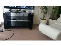 Stylish Modern Black Glass Glossy TV Table With Two Shelfs Underneath Bargain
