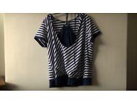 brand new ladies stripe hooded top