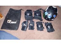 Skate board helmet and pad set