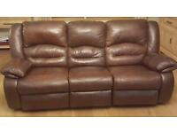 Reclining soft brown leather suite 3+3+1+1
