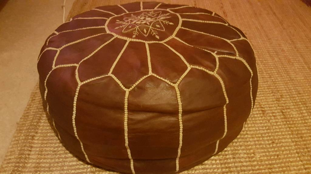 Genuine leather Morrocan pouffe from Marrakech