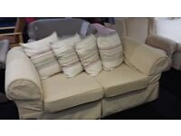Cream fabric Large 2 seater + arm chair