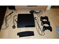 Playstation 3 Slim 160GB model 500GB Upgraded HDD, 3 controllers (1 faulty), Stand and Eye Camera