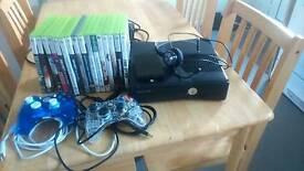 Xbox 360 slim console 320GB hard drive, 16 games bundle ex con