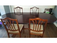 Mahogany extending table and chairs