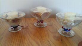 Sundae dish candle holders.