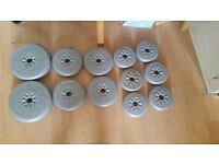 York Barbell grey weight plate set