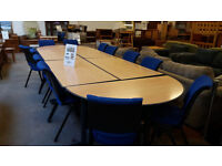 Large extendable boardroom table with 12 chairs