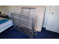 Metal double bed frame and mattress - used