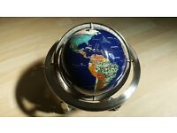 VINTAGE STYLE GLOBE Inlaid with Semi Precious Stones Lapis sea