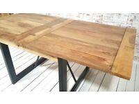 Hardwood Finish Folding Space Saving Oak Style Rustic Dining Extending Industrial Table Drop Leaf
