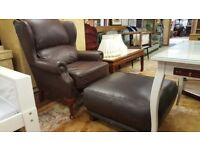 Brown Leather Wing Back Chair & Footstool