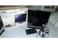"21.6"" TV, Freesat box, DVD player (no tv remote)"