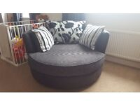 Large 4 seater sofa and spinning snuggle chair.