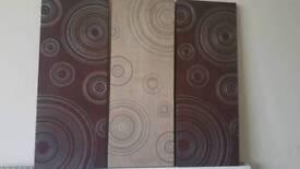 Set of 3 brown suede canvas
