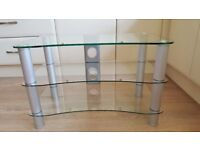 Glass TV table.