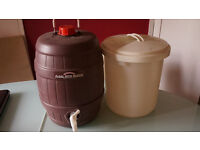 Beer barrel and bucket for home brew.