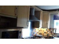 Beech Shaker style kitchen units plus quartz tops, sills & breakfast table