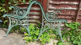 PAIR OF VINTAGE CAST IRON GARDEN BENCH ENDS