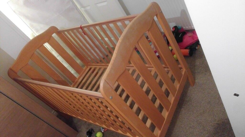 mamas & papas cot bed, solid wood with mattress.