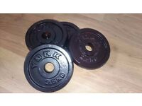 4 x 2.5kg YORK weights - 10kg total - for Barbell and Dumbells