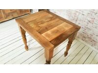 Farmhouse Kitchen Dining Rustic Extending Table - Space Saving Design Petite Turned Leg