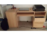 Double Desk with Filer and 2 drawers - Oak Effect