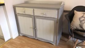Grey and white chalk paint cabinet