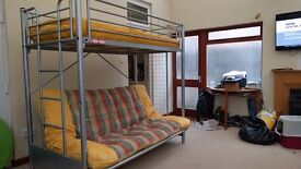 Bunk Bed - Metal Frame VERY SOLID Excellent Condition - futon mattresses 1 double + 1 single