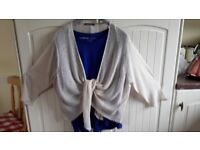 Royal Blue soft cotton with stretch, tee shirt and lace cardigan thrown in