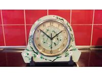 1950's Wooden Mantle Table Desk Cabinet Clock With Hidden Jewellery Box