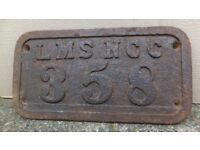 LMSNCC STEAM TRAIN ORIGINAL RARE EARLY IRISH SIGN london-midland-scottish